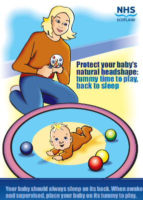 image - Protect your baby's natural headshape: tummy, time to play, back to sleep - to be ordered by maternity units. health visiting teams may order a maximum of 5 copies.